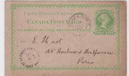 C-V001 /  KANADA  - Anne De La Pocatiere 1892 Nach Paris.  Bahnpost  Calais - Paris - 1860-1899 Regering Van Victoria
