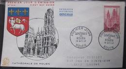 Enveloppe FDC 214 - 1957 - Rouen Cathédrale - YT 1129 - Brieven En Documenten