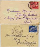 2 Lettre Avec Marianne De Gandon - Format Carte De Visite - 1921-1960: Modern Period