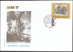 Croatia Zagreb 1993 / 150 Anniversary Of Birth Of Croatian Painter Adolf Ignja Waldinger / Old Oak / FDC - Celebrità