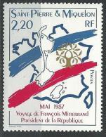 """SPM YT 478 """" Visite F. Mitterrand """" 1987 Neuf** - St.Pierre & Miquelon"""