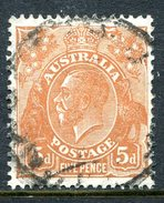 Australia 1926-30 KGV Heads (Wmk. Mult. Crown A) - P.13½ X 12½ - 5d Orange-brown Used (SG 103a) - 1913-36 George V: Heads