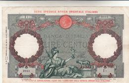 Lire 100 Capranesi. Serie Speciale Per L'Africa Orientale, Banconota Banca D'Italia Dec. 1938 Buon BB - [ 1] …-1946 : Kingdom