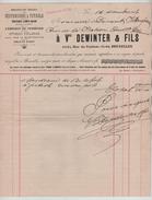Facture Vve Dewinter & Fils Rue Du Vautour Bruxelles Suspensions à Pétrole-fabrique De Pendules En 1907 PR4432 - Belgique