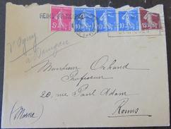 Enveloppe Avec 5 Timbres Semeuse 189b, 278b, 279 - Marcophilie (Lettres)