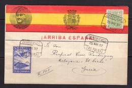 España 1937. Canarias. Carta De Las Palmas A Guia De Gran Canaria. Censura. - Marcas De Censura Nacional