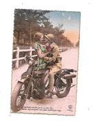 CPA Fantaisie, Couple à Moto, Thème Transport, Moto, - Motos