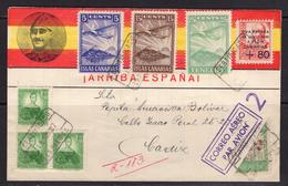 España 1937. Canarias. Carta De Las Palmas A Cadiz. Censura. - Marcas De Censura Nacional