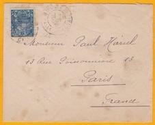 C. 1922 - Enveloppe De Nouméa, Nouvelle Caledonie Vers Paris - Timbre YT 95 Seul - Format 12 X 9,5 Cm - Briefe U. Dokumente