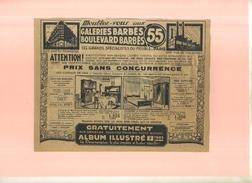 FRANCE 75 . GALERIES BARBES  . PUB  DES ANNEES 1920  . DECOUPEE ET COLLEE SUR PAPIER . - Mobili