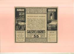 FRANCE 75 . GALERIES BARBES  . PUB  DES ANNEES 1920  . DECOUPEE ET COLLEE SUR PAPIER .