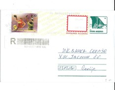 Macedonia R - Letter.Stamped Stationery Cover,post Label And Stamp 2008 European Women's Handball Championship,Macedonia - Macedonia