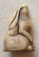 Figurine JACQUET Année 80 - Animaux Blanc - Lievre 4,5 X 3 Cm - Figurines