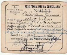 Health Care Beneficiary Card * Assistência Médica Domiciliaria * Cª Dos Caminhos De Ferro Portugueses * 1964 * Portugal - Historical Documents