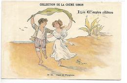 PUBLICITE - Collection De La Crème SIMON - Les Couples Célèbres - Paul Et Virginie - Werbepostkarten