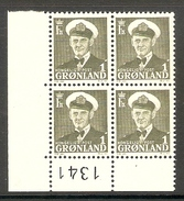 001117 Greenland 1950 1o MNH Plate 1341 Block - Blocchi