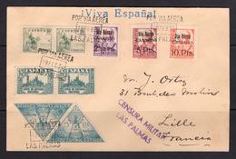 España 1938. Canarias. Carta De Las Palmas A Lille. Censura. - Marcas De Censura Nacional