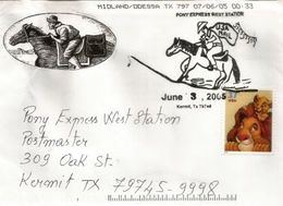 Le Service De La Poste Du  Pony Express. Lakeside, Arizona.  (White Mountain Sheriff's Posse) Belle Enveloppe Souvenir. - Horses