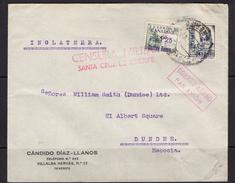 España 1937. Canarias. Carta De Tenerife A Dundee. Censura. - Marcas De Censura Nacional