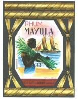 étiquette Rhum  Mayola  Récolte Des Cannes Homme  Bateau   Boudot à Lavoncourt  Imp Wetterwald - Rhum