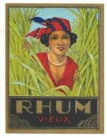 """étiquette Rhum   Vieux """"visage Femme Coiffe Bijou Canne"""" - Rhum"""