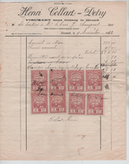 Facture Henri Collard Detry Vieusart En 1922 + TP Fiscaux PR4439 - Belgium