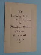 1er COMMUNION Madeleine Wiedmann ANVERS 22 Avril 1923 () Zie Foto´s ! - Menus