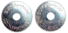 03217 GETTONE TOKEN JETON PARCHEGGIO PARKING EUROPA PARK LOOKER TOKEN HOLED - Non Classificati