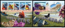 GUINEA BISSAU 2017 - Butterflies. M/S + S/S. Official Issue - Insects