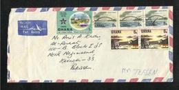 Ghana 1978  Air Mail Postal Used Cover Ghana To Pakistan International Trade Fair Adomi Bridge Dam Stamps - Ghana (1957-...)