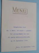 25 Jarig Huwelijksjubileum 14 Sept 1954 De Graef - Lauwers ( NIEL 12 Sept 1954 ) Zie Foto´s ! - Menus