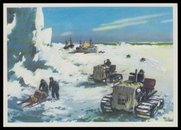 "4-296 RUSSIA 1976 POSTCARD Mint ANTARCTIC EXPEDITION ""OB"" SHIP ""KOOPERATSIYA"" TRACTOR TRACTEUR TRANSPORT - Missions"