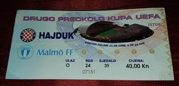 NK HAJDUK SPLIT- MALMÖ IF SWEDEN, FOOTBALL MATCH TICKET - Match Tickets