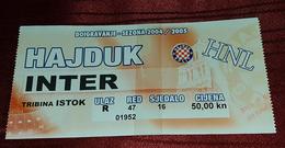 NK HAJDUK- NK INTER ZAPRESIC, CROATIAN FIRST DIVISION, FOOTBALL MATCH TICKET - Match Tickets