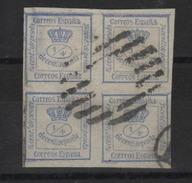 Espagne -  Couronne Royale Bloc De 4 Timb.(1872 ) N ° 129 ( Non Dentelé ) - 1850-68 Kingdom: Isabella II