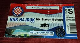 NK HAJDUK- NK SLAVEN BELUPO, CROATIAN FIRST DIVISION, FOOTBALL MATCH TICKET - Tickets & Toegangskaarten
