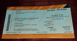 BASKETBALL CLUB SPLIT- BASKETBALL CLUB ZADAR, CROATIAN FIRST DIVISION, MATCH TICKET - Match Tickets