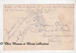 WWI - TAMPON HOPITAL TEMPORAIRE 86 HOTEL DES DEUX MONDES VICHY ALLIER - LERAUX 9 EME ZOUAVES POUR PERON - 13 REGION CPA - 1914-18