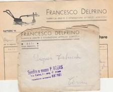 6349. Lp    Busta Con Corrispondenza Delprino Fabbrica Aratri Asti 1955 Spedite A Mezzo Boeris - Vecchi Documenti