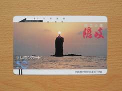 Japon Japan Free Front Bar, Balken Phonecard - 110-808 / Sunset, Sonnenuntergang, Fels
