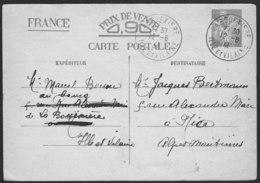 ENTIER IRIS (0.90) De BLA BOUEXIERE (Ille Et Vilaine) Du 12-6-1941 Vers NICE - Standard Postcards & Stamped On Demand (before 1995)