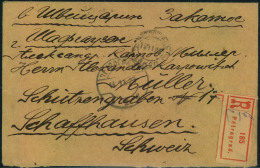 1923, Registered Letter Franked With Block Of Four 10 Kop Soldier On Back Sent From PETROGRAD To Schaffhausen, Switzerla