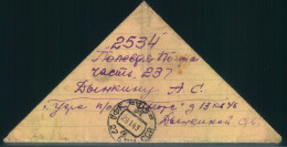 """1943, Triangular Fieldpost Letter Sent From UFA (Siberia) To APO-number """"""""2534"""""""" On The Lenigrad/Wolchow Front."""
