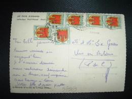CP TP BLASON AUVERGNE 2F X6 OBL. Tiretée 11 9 1951 VENOSC (38 ISERE) - 1941-66 Armoiries Et Blasons