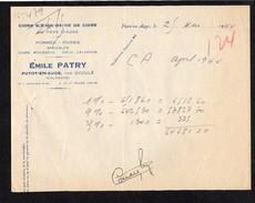 """1944  Entête """"Emile Patry """"à Putot En Auge 14 """" Cidre,Eaux De Vie,du Pays D'Auge,Pommes,Poires,Vieux Calvados .... - Francia"""