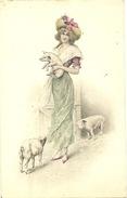 Carte Postale Wichera  Art Nouveau Vienne Wien Femme Et Cochon Et Porcelets - Wichera