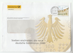 2008 GERMANY Illus ADVERT Postal STATIONERY Illus 100 Euro GOLD COIN, Stamps Cover - [7] Federal Republic