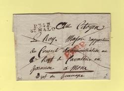 St Malo - 34 - Ille Et Vilaine - Port Paye - Destination Jemmapes Mons Belgique - Sans Date - 1801-1848: Précurseurs XIX