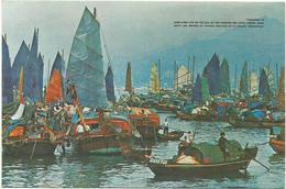 V610 Hong Kong - Floating People In Castle Peak Bay - Barche Boats Bayeaux / Non Viaggiata - Cina (Hong Kong)