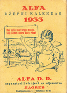CALENDAR-AGFA,ZAGREB,CROATIA 1933 - Kalenders